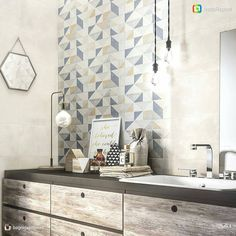 """123 Likes, 3 Comments - ragnoceramiche (@ragno_ceramiche) on Instagram: """"Geometrical effect and strong visual impact with #Feel decor  Thanks to @bagnidalmondo for sharing…"""""""