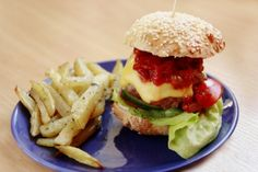 homemade beef burger with homemade baked french fries