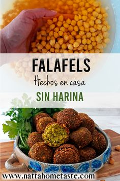 Falafels O Croquetas de garbanzos Kosher Recipes, Raw Food Recipes, Veggie Recipes, Cooking Recipes, Healthy Recipes, Meal Recipes, Vegetarian Cooking, Healthy Cooking, Healthy Snacks