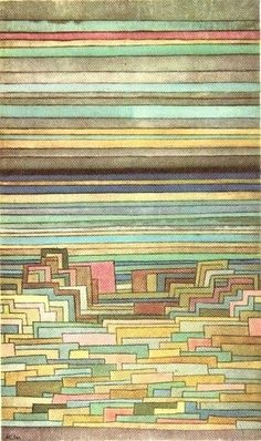 City of Lagoons. Paul Klee, 1932. / Such beauty. I really enjoy this piece because at the top it's looking like skateboard wood with all the colours and texture but as you go down it turns into this zig zag mess over top, almost appearing three dimensional.