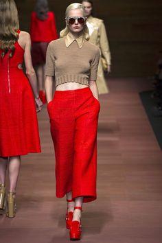 широкие красные брюки женские