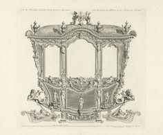 Bernard Picart | Statiekoets van de hertog van Ossuna, 1713, Bernard Picart, 1714 | Zijkant van de gouden koets met panelen van spiegelend glas en kristal. Onderdeel van een serie van zeven platen met de statiekoets van de Spaanse gezant de hertog van Ossuna, gebruikt bij zijn openbare intocht in Utrecht voor de vredesonderhandelingen in 1713.