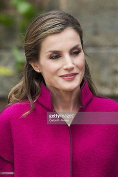 Queen Letizia of Spain visits Los Oscos Region on October 22, 2016 in Los Oscos, Spain. The region of Los Oscos was honoured as the 2016 Best Asturian Village.