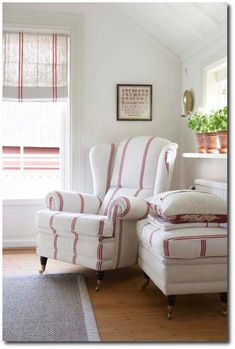 pretty in red - cottage style Red Cottage, Cottage Living, Cottage Style, Coastal Living, Living Room, Deco Champetre, Chair And Ottoman, Wingback Chairs, Arm Chairs