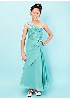 Vevina Style Sheath Column One Shoulder Ankle-length Chiffon Junior  Bridesmaid Dress 29c70ae3d0a6