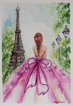 Eiffel Tower Paris ballerina painting Eiffel Tower Decor Handmade item Watercolors Ships worldwide from Bulgaria Measuring approximately This original watercolor will be signed by me.It's an original painting. Not a print. Eiffel Tower Drawing, Eiffel Tower Painting, Eiffel Tower Art, Eiffel Towers, Ballerina Painting, Paris Painting, Paris Photography, Fashion Sketches, Cute Drawings