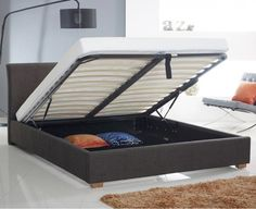 Annabelle Charcoal Modern Upholsterd Buttoned Ottoman Storage Bed   Storage Beds (by Bedz4u.co.uk)
