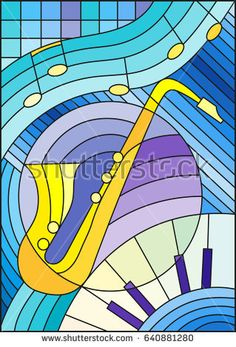 Illustration in stained glass style on the subject of music , the shape of an abstract saxophone on geometric background