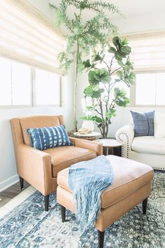PURE SALT INTERIORS // MARISOL PROJECT // LIVING ROOM - antique rug, indigo pillows, woven wood window treatments, concrete coffee table, layerd rugs, indoor plants