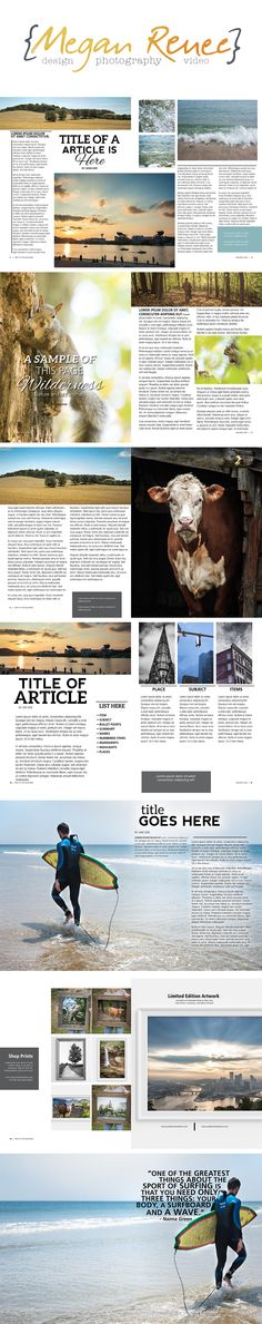 Magazine Layout Design - Examples from a real magazine, creating magazine layouts. Edited with Lorem Ipsum text and my images as placeholders. Included is 5 image, 3 image, and 2 feature image articles with a shop ad, full page ads, and more.