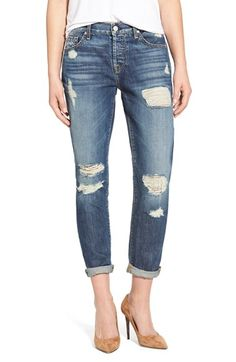 7 For All Mankind® 'Josefina' Mid Rise Boyfriend Jeans (Rigid Sanded Blue) available at #Nordstrom
