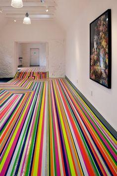 'Zobop' or 'Fluorescent' by Jim Lambie at Jupiter Artland Jim Lambie, Bright Colors, Colours, Sculpture, Shapes, Creative, Perspective, Artist, Scotland