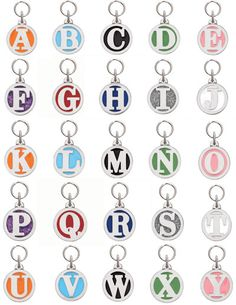 "Pewter Engravable Initial Tags. I need to get a ""C"" for Cullen!"