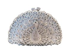 Natasha Couture Crystal Rhinestone Peacock Clutch in Silver