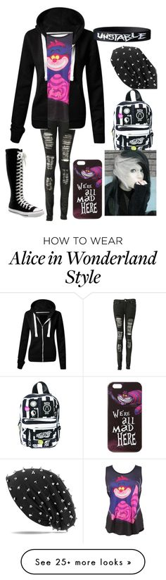 """Wonderland "" by maddhatterx on Polyvore featuring Converse, Disney and Current Mood"
