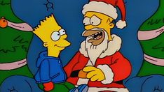 """From (Season 1 Episode """"Simpsons Roasting on an Open Fire"""" While Christmas shopping, Bart sneaks off and gets a tattoo. Simpsons Videos, Simpsons Characters, The Simpsons, Christmas Episodes, Christmas Cartoons, Christmas Humor, Christmas Themes, Christmas Fun, Papa Noel"""