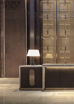 How much important is lighting design to decor your lobby? Discover now at luxxu. Lobby Reception, Reception Design, Reception Counter, Lobby Interior, Luxury Interior, Public Hotel, Lobby Lounge, Counter Design, Lobby Design