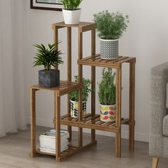 Wooden Plant Stands Indoor, Wood Plant Stand, Bamboo Plants, Succulent Plants, Cacti, Corner Plant, Indoor Bonsai, Outdoor Flowers, Flower Stands