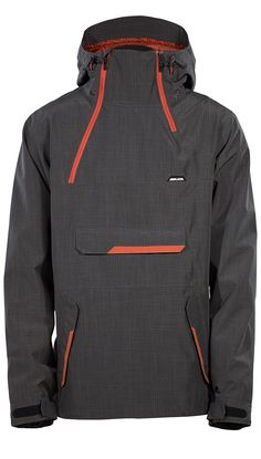 Go Pullover Jacket - Charcoal. Throwback to the days when anorak jackets roamed earth, the Go Pullover features a centralized kangaroo pocket, a-symmetrical zippers, and a helmet compatible hood. To increase accessibility, the side access zipper allows for easy entry. Featuring a moderate tailored fit and a mesh/taffeta lining. | ARMADA  #PulloverJacket