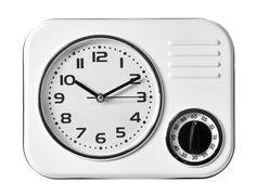 Väggklocka retro - Vit köksklocka med timer