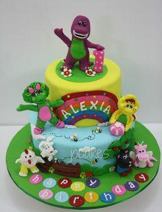 Barney Birthday Cake Ideas Barney Birthday Cake, Barney Cake, Barney Party, 3rd Birthday Cakes, Kids Birthday Themes, 3rd Birthday Parties, Birthday Cake Toppers, Baby Birthday, Friends Cake