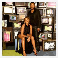 Chrissy Teigen in Marchesa with husband John Legend at the MTV Video Music Awards 2015