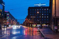 Narva street in Tallinn - Narva mnt at Night in Tallinn Estonia