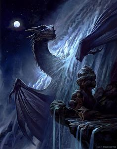 Dragon in the waterfall / nightfall / fantasy / mythical beast Mythical Creatures Art, Mythological Creatures, Magical Creatures, Fantasy Artwork, Fantasy Paintings, Digital Paintings, Watercolor Paintings, Digital Art, Fantasy Wesen