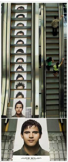 En escaleras mecánicas se están haciendo cosas buenísimas. Un centro de estética...