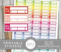 Bill Due Stickers, Bill Due Planner Stickers, Budget Stickers, Printable Planner Stickers, Erin Condren, Happy Planner, Mambi PDF, FS105