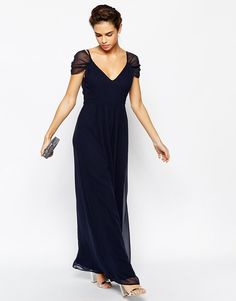 Pin for Later: 30 Gorgeous Wedding Guest Dresses For Under £60  Elise Ryan cap sleeved navy maxi dress (£58)