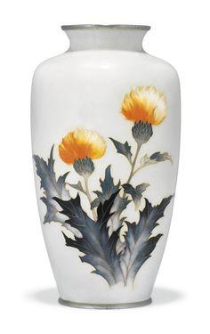 A Cloisonné Vase Impressed Seal Tamara Showa Period Century Japanese Vase, Japanese Porcelain, Pottery Vase, Ceramic Pottery, Showa Period, Japanese Aesthetic, Beautiful Landscapes, Archaeology, Glass Art
