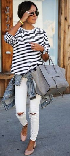 Women's fashion | Casual stripes, jeans, sandals, Hand Bag,