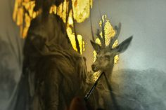 Exquisite gold plated fantasy illustrations by Yoann Lossel