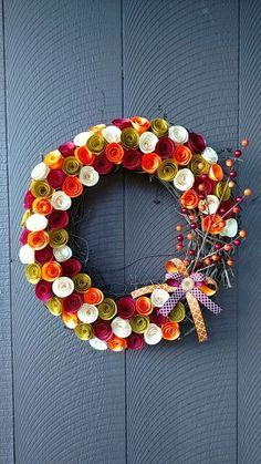"14"" paper flower grapevine wreath"