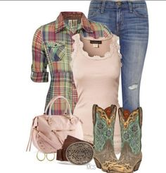 Plaid and cowgirl boots, love it!!! Y'all know how I love plaid!!