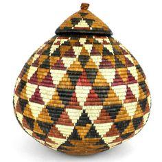 Fair Trade Handwoven South African Zulu Ukhamba Beer Wedding Gift Basket -OS23