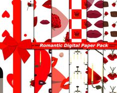 Romantic Digital Paper Pack, Love Paper, Lips Paper pack, Red and white Paper Pack
