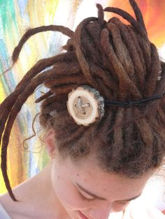 Hair button, wooden button accessory // hair accessories wood // hippie, bohemian, alternative, woodwork, minimalist // dread accessories by HeadstrongHippie on Etsy https://www.etsy.com/listing/231220686/hair-button-wooden-button-accessory-hair