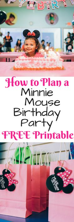 """Toddler Minnie Mouse theme birthday party and free party bag tag """"twodles"""" printable for a two year old birthday party."""