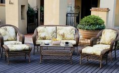 """Lakeshore Outdoor Furniture Set . $999.00. Stylish tropical-print fabric will go with almost any decor and the padded seating will add extra comfort to your next backyard bbq. Comfortable brown wicker supported by strong steel frames. Beautiful and durable outdoor furniture set. Dimensions:  Loveseat-30.7""""L x 60.63""""W x 37""""H, Table-42""""L x 21.34""""W x 20.4""""H, chair-30.7""""L x 33.07""""W x 37""""H, ottoman-29.53""""L x 21.26""""W x 18.5""""H. Set includes 1 loveseat, 1 glass-top table,..."""