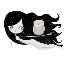 #girl #owl #night #hair #illustration
