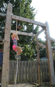 How to Build Your Own American Ninja Warrior Training Course DIY Backyard Fun For The Entire Family, Rope Climb On Ninja Obstacle Course, By Girl Meets Carpenter Featured On Remodelaholic Backyard Fort, Backyard Obstacle Course, Backyard Playset, Kids Obstacle Course, Backyard For Kids, Backyard Seating, Backyard Landscaping, Kids Ninja Warrior, Ninja Warrior Course