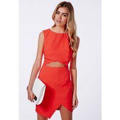 Evie Crepe Cut Out Asymmetric Bodycon Dress - Bodycon Dresses - Missguided