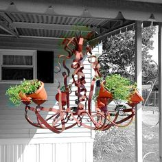 Awesome {Antique Chandelier} repurposed into an {Herb Planter!}