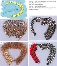Lessons embroidery sequins and beads Tambour Beading, Tambour Embroidery, Couture Embroidery, Bead Embroidery Jewelry, Silk Ribbon Embroidery, Beaded Jewelry, Embroidery Stitches, Bead Embroidery Tutorial, Hand Embroidery Designs