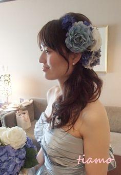 綺麗めナチュラルアップからサイドダウン♡美人花嫁さまの素敵な一日 |大人可愛いブライダルヘアメイク『tiamo』の結婚カタログ