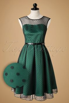 Lindy Bop - 50s Aleena Polka Dot Prom Dress in Emerald Green