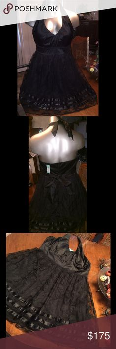 """Black Lace Princess Dress ✨ PLUS SIZE Formal Princess dress with full tule lining, satin & lace overlaid pouf skirt. Sateen accents on bottom complimenting a full sateen halter top and banded waist. Though this upper stretches, it is still thick and firm for tummy cinching and control. Absolutely stunning! Great for any body type! Add a shrug for confidence and be the dark belle if the ball ! 40""""+ waist, 32"""" long from bust. torrid Dresses"""