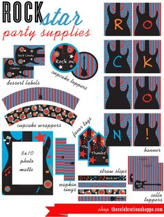 ROCK ON in red, aqua and black!   printable party supplies from thecelebrationshoppe.com
